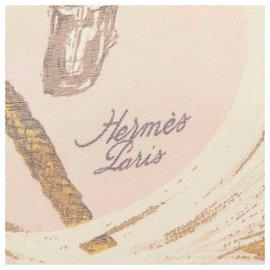 Hermès-Hermes Brown A Propos de Bottes Silk Scarf-Brown,Multiple colors,Beige