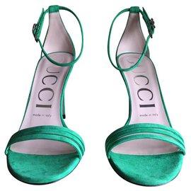 Gucci-SANDALES GUCCI MARMONT EN DAIM-Vert