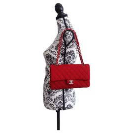 Chanel-CLASSIC CHANEL BAG JERSEY RED-Red