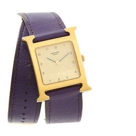 Hermès-TIME H 26 MEDIUM GOLDEN lined TOUR-Golden