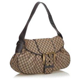 Céline-Celine Brown Macadam Canvas Shoulder Bag-Brown,Beige