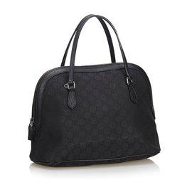 Gucci-Gucci Noir GG Cartable Dôme Moyen-Noir