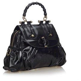 Gucci-Gucci Cartable en cuir verni de bambou noir-Noir