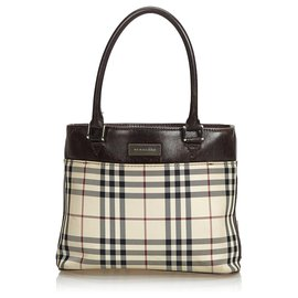 Burberry-Burberry Brown House Check Coated Canvas Tote Bag-Brown,Multiple colors,Beige