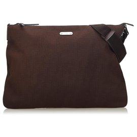 Gucci-Sac bandoulière en coton brun Gucci-Marron,Marron foncé