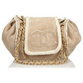 Chanel-Chanel Brown Suede Chain Shoulder Bag-Brown,White,Cream
