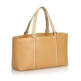 Burberry-Burberry Brown Leather Handbag-Brown,Beige