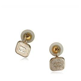 Chanel-Chanel Gold CC Drop Earrings-Golden