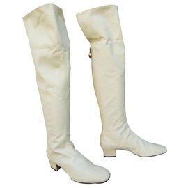 Gucci-cuissardes Gucci cuir et toile blanche pointure 38,5-Blanc