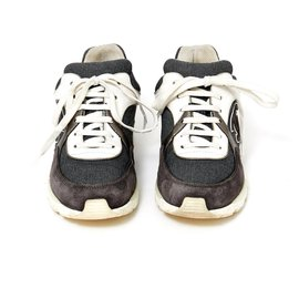 Chanel-gray white sneakers UK37.5-White,Grey