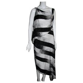 Halston Heritage-Asymmetric cape dress-Black,White