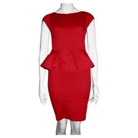 Alice + Olivia-Red Peplum dress-Red