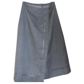 Hermès-AUTHENTIC SKIRT HERMES WALLET IN WOOL AND LEATHER-Grey