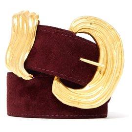 Lanvin-burgundy suede T80-Golden,Dark red
