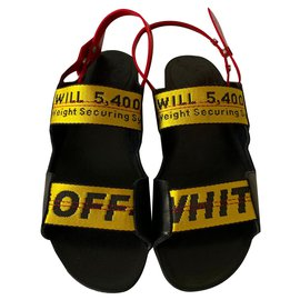 Off White-Leather flat sandals-Black
