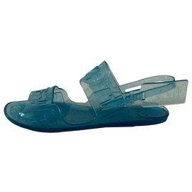 Off White-Blu zip tie jelly sandals-Blue
