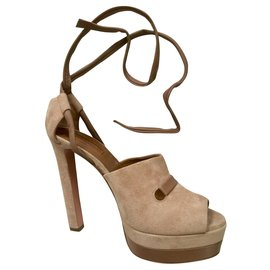 Aquazzura-Suede and leather heels-Taupe