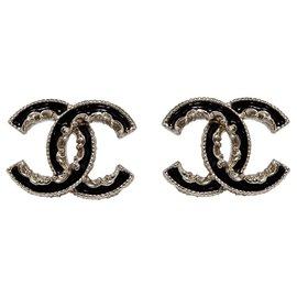 Chanel-LARGE CC BLACK ENAMEL-Noir,Doré