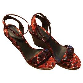 Bottega Veneta-Bottega Veneta new wedge sandals-Red
