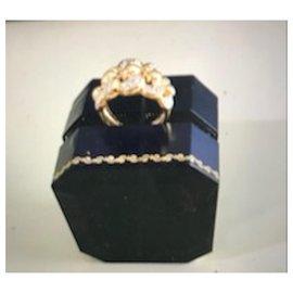 No Brand-Bague or 18 carats et diamants-Doré