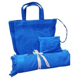 Chanel-Sac +serviette Chanel plage-Bleu Marine,Turquoise