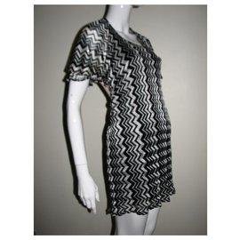 Anna Sui-Chevron print dress (fr 38)-Black,Silvery,White