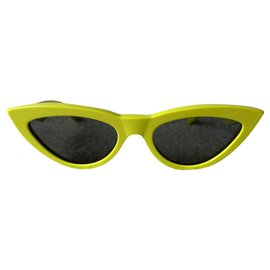 Céline-Acid yellow cat-eye sunglasses-Yellow