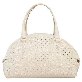 Bottega Veneta-Perforated bowler bag-Beige,Cream