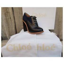 Chloé-brogue with heels Chloé size 37 Mint condition-Black,Blue