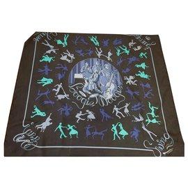 Hermès-Silk scarves-Dark blue