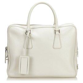 Prada-Sac d'affaires Prada en cuir Saffiano blanc-Blanc