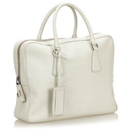 Prada-Prada White Saffiano Leather Business Bag-White