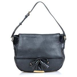 Burberry-Burberry Black Leather Tassel Shoulder Bag-Black