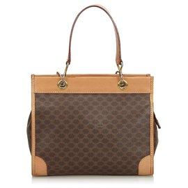 Céline-Celine Brown Macadam Shoulder Bag-Brown,Dark brown