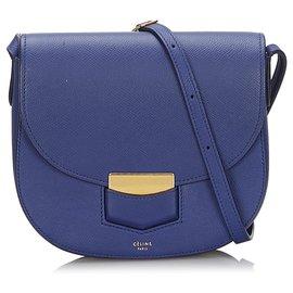 Céline-Celine Blue Small Trotteur Crossbody bag-Blue