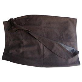 inconnue-jupe portefeuille-Marron foncé