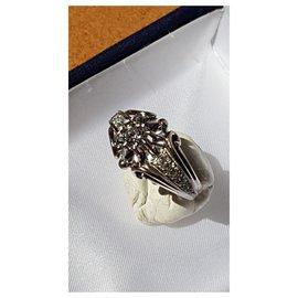 Autre Marque-Solitaire de 0.40 carat épaulée 10 diamants-Argenté