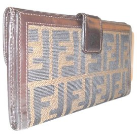 Fendi-FENDI wallet Zucca fabric and leather-Brown