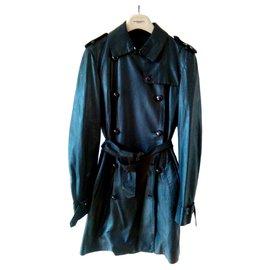 Burberry-BURBERRY London Trench Coat Black Lambskin Leather-Black