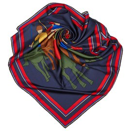 Céline-Celine Blue Printed Silk Scarf-Blue,Multiple colors,Navy blue