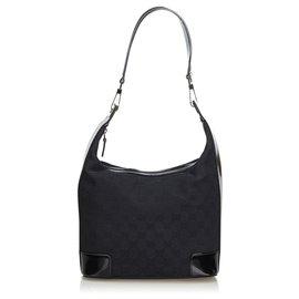 Gucci-Gucci Black GG Jacquard Shoulder Bag-Black