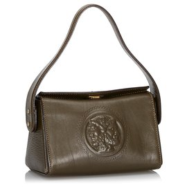 Fendi-Fendi Brown Leather Satchel-Brown,Khaki