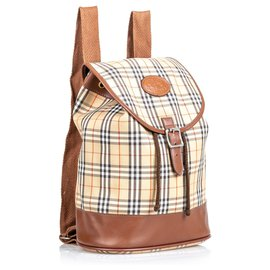 Burberry-Burberry Brown House Check Canvas Drawstring Backpack-Brown,Multiple colors,Beige