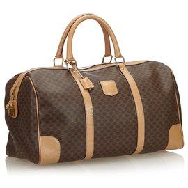 Céline-Celine Brown Macadam Duffle Bag-Brown,Beige,Dark brown