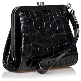 Burberry-Burberry Black Embossed Leather Clutch Bag-Black
