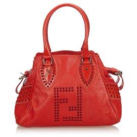 Fendi-Fendi Red Leather Etniko-Red
