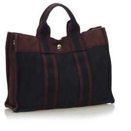 Hermès-Hermes Black Fourre Tout PM-Brown,Black,Dark brown