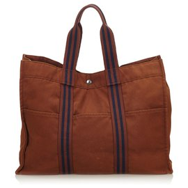 Hermès-Hermes Brown Fourre Tout GM-Brown,Blue,Navy blue
