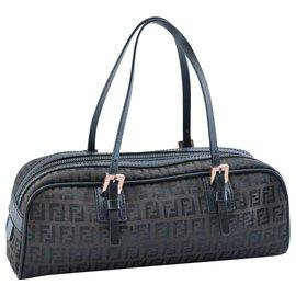Fendi-Fendi Nylon Handbag-Brown