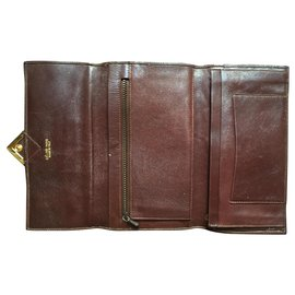 Céline-vintage leather Celine wallets-Dark brown